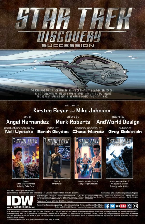 IDW Launches Its New Star Trek Discovery Series Succession Tomorrow And You Can Take A Look At Preview Of The First Issue Here Check It Out